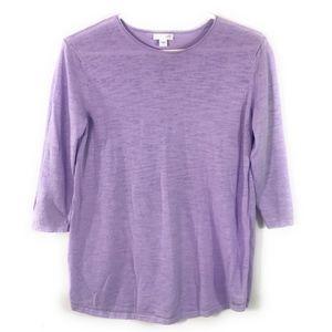 J. Jill Lavender Linen Blend 3/4 Sleeve Top